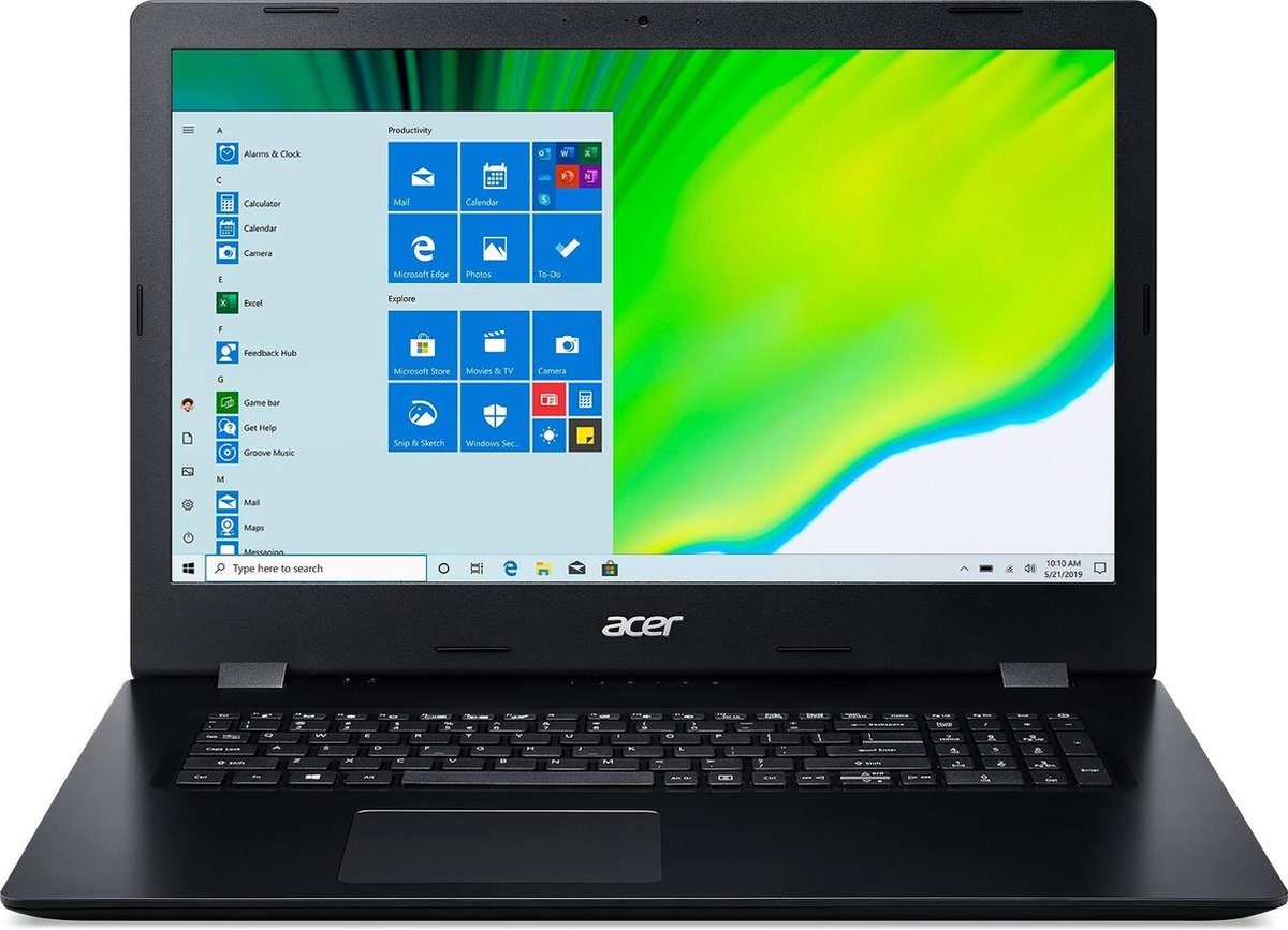 "Acer Aspire 3 NX.HZWEH.01C notebook Zwart 43,9 cm (17.3"") 1600 x 900 Pixels Intel® 10de generatie Core™ i7 8 GB DDR4-SDRAM 512 GB SSD Wi-Fi 5 (802.11ac) Windows 10 Home"