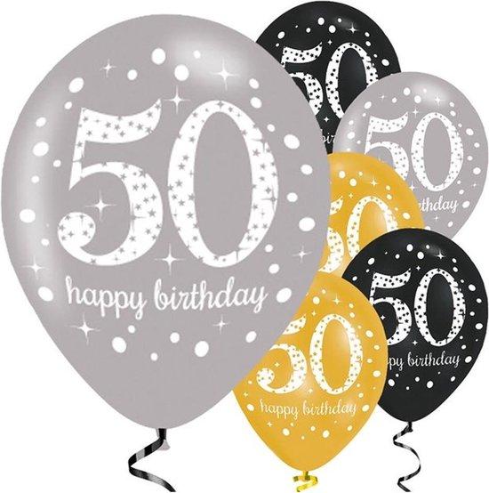 Ballonnen 50 Jaar Happy Birthday 27,5cm 6st