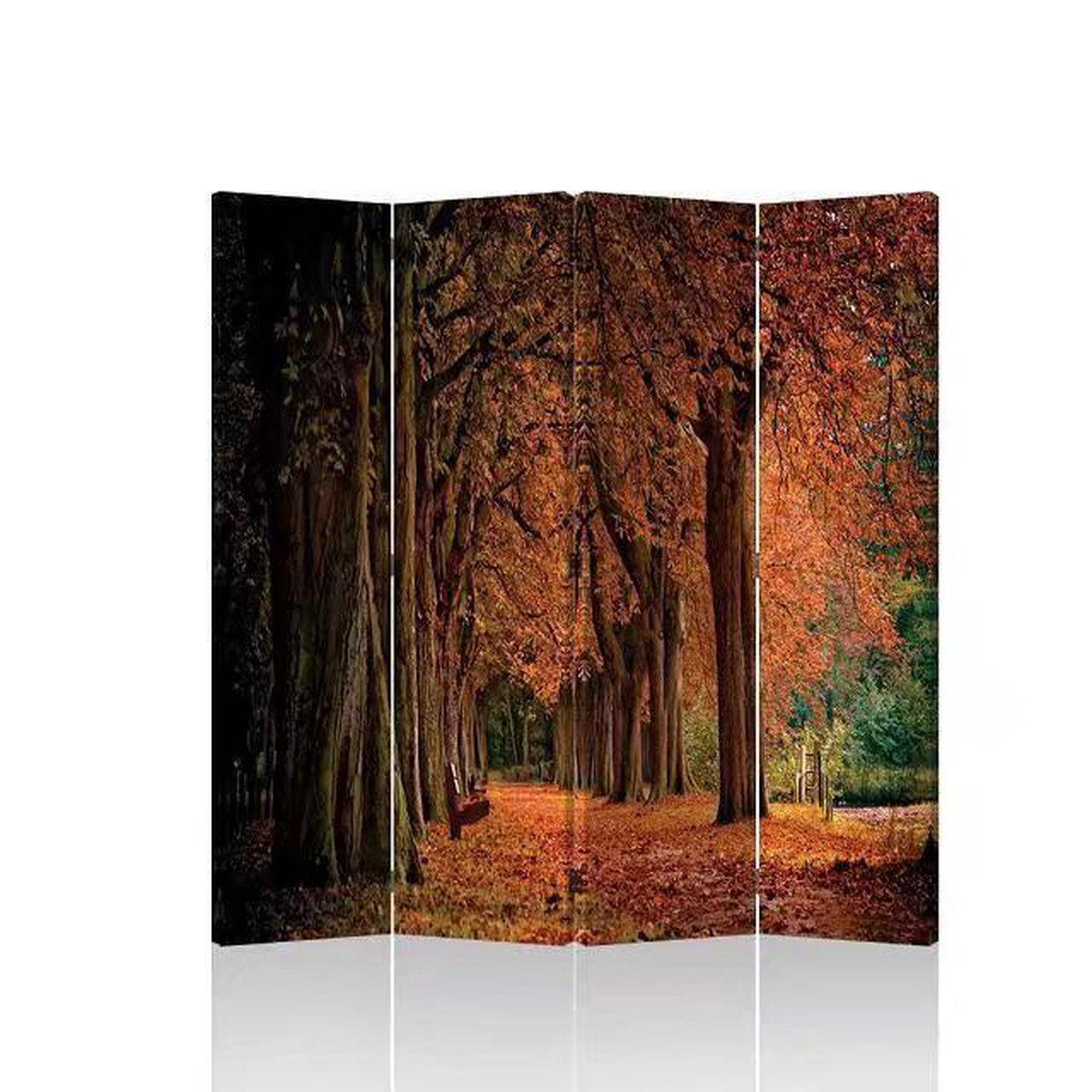 Orientique Kamerscherm 4 Panelen Autumn Forest Canvas Room Divider - Orientique
