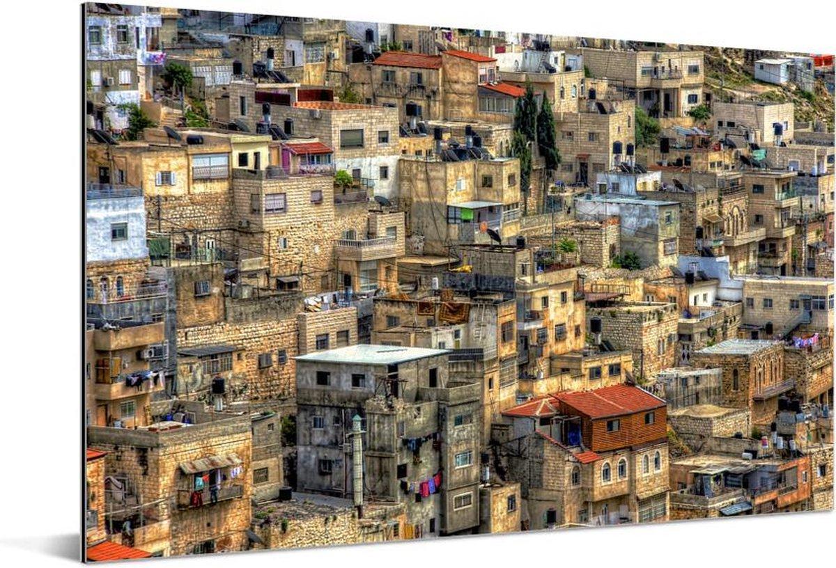 De typische gestapelde behuizing in het Israëlische Jeruzalem Aluminium 180x120 cm - Foto print op Aluminium (metaal wanddecoratie) XXL / Groot formaat!