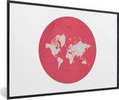 Foto in lijst - Ronde en roze wereldkaart op een witte achtergrond fotolijst zwart 60x40 cm - Poster in lijst (Wanddecoratie woonkamer / slaapkamer)