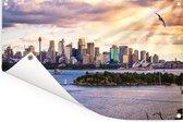 Zonnestralen schijnen op de Australische stad Sydney Tuinposter 180x120 cm - Tuindoek / Buitencanvas / Schilderijen voor buiten (tuin decoratie) XXL / Groot formaat!