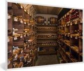 Foto in lijst - Een wijnkelder fotolijst wit 60x40 cm - Poster in lijst (Wanddecoratie woonkamer / slaapkamer)