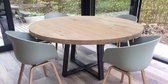 Ronde eikenhouten eettafel, stalen U poot, 140 cm, duurzame tafel, symmetrische U poot, industrieel, staal en hout, eikenhout