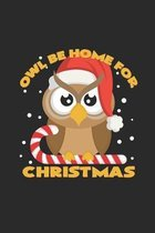 Owl be home for christmas: 6x9 Owl - dotgrid - dot grid paper - notebook - notes