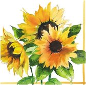 100x stuks Zonnebloemen thema servetten 33 x 33 cm - Papieren wegwerp servetjes - Zonnebloemen versieringen/decoraties