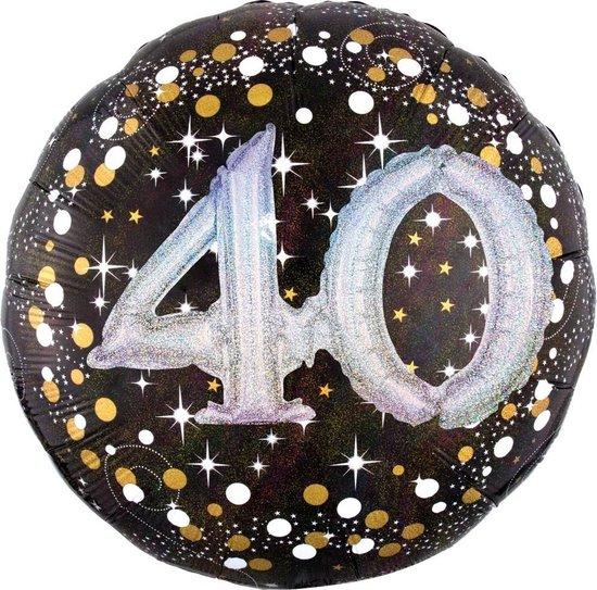 Amscan Folieballon Happy Birthday 40 Jaar 91 Cm Helium Zwart