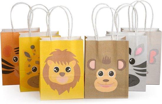 Decopatent® 12 STUKS MIX Dieren Traktatie Uitdeel papieren zakjes met Handvat - Tasjes voor Uitdeelcadeautjes - Kinderfeestje