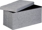 relaxdays opvouwbare zitbank - linnen - zitkist met opslagruimte - bank - 38 x 76 x 38 cm grijs