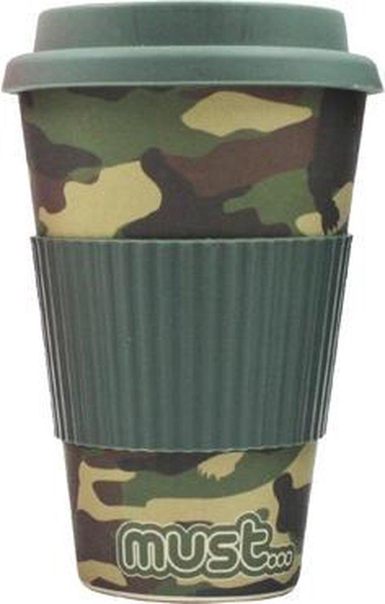 Must Drinkbeker Army 480 Ml Bamboe/rubber Groen