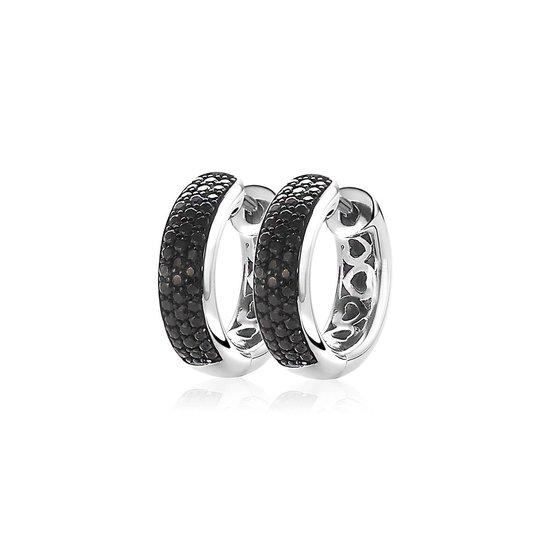 ZINZI zilveren oorringen 17 x 5mm zwart ZIO1183Z