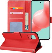 Samsung Galaxy A71 Hoesje Book Case Wallet Cover Lederlook Hoes - Rood