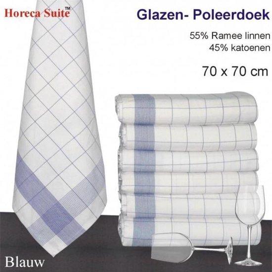 Glazendoek / Poleerdoek 70x70 Blauw 12 stuks