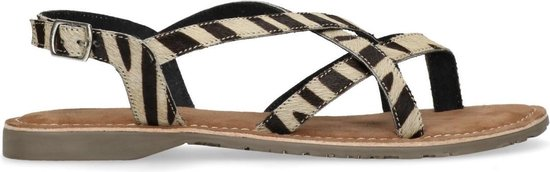 Manfield - Dames - Zebraprint sandalen met gesp - Maat 38
