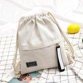 Mode canvas koord rugzak draagbare casual schouder knapsack (wit)