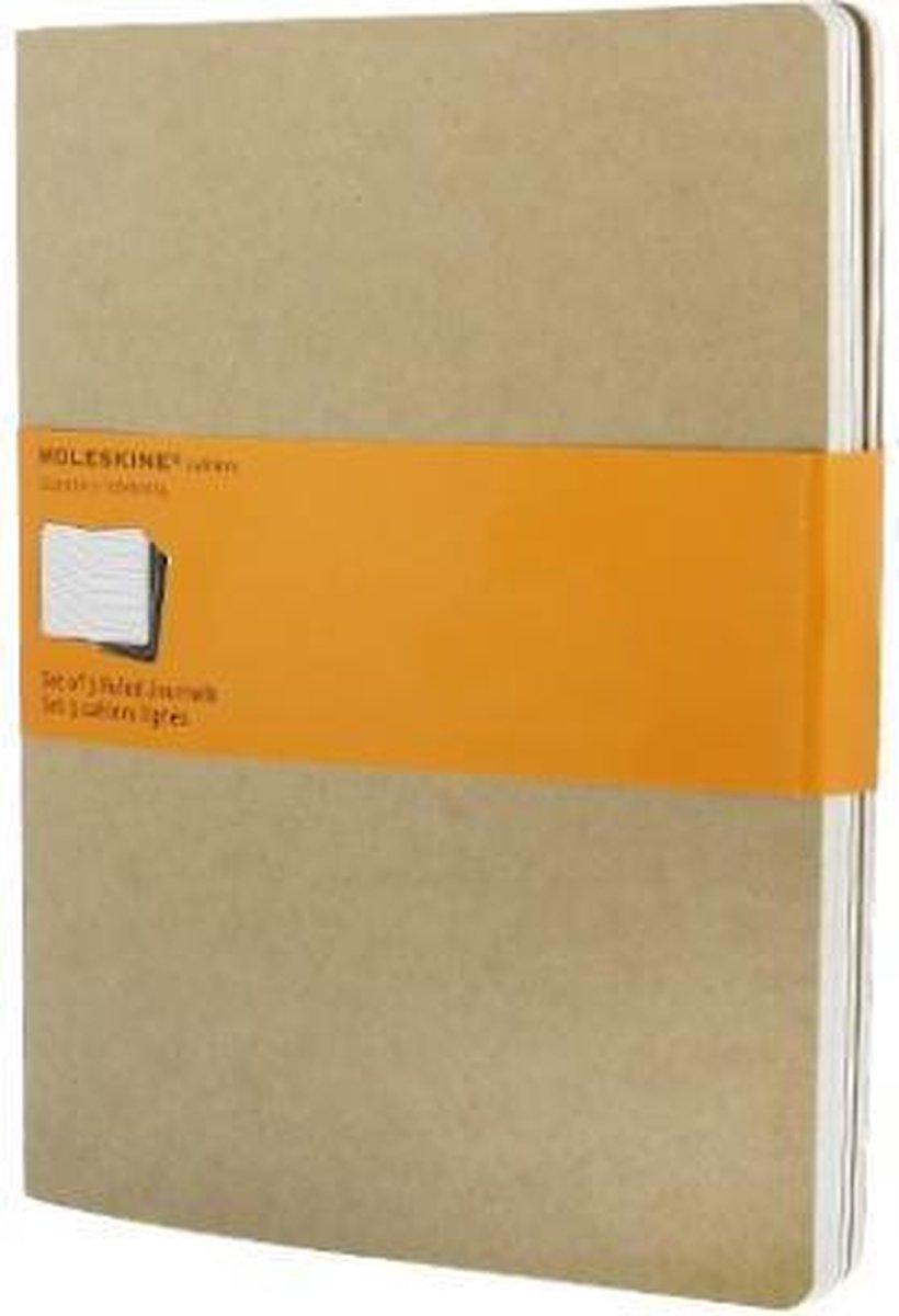 Moleskine Cahier Notitieboek Soft Cover - XL - Bruin - Lijnen - Set van 3