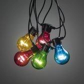 Konstsmide ® 2372-500 - Snoerverlichting - Premium 5 lamps feestverlichting multicolor op batterij 4x AA - 200cm - zeer energiezuinig - ON/OFF/6u timer keuzeschakelaar - 3m aansluitsnoer - voor buiten en binnen