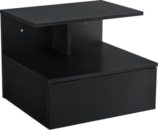 Nachtkastje zwevend Elba met lade 40x35x31 cm zwart