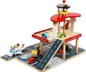Mamabrum Houten Speelgoed Vliegveld / Garage - Set met Vliegtuig Helicopter en Auto's