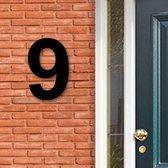 Huisnummer Acryl zwart, cijfer 9, Hoogte 16cm | Huisnummer plexiglas | Huisnummer modern | Huisnummer kopen | Topkwaliteit | Gratis verzending!