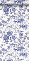 Origin behang - Bloemen wit en Delfts blauw - 326120 - 53 x 1005 cm