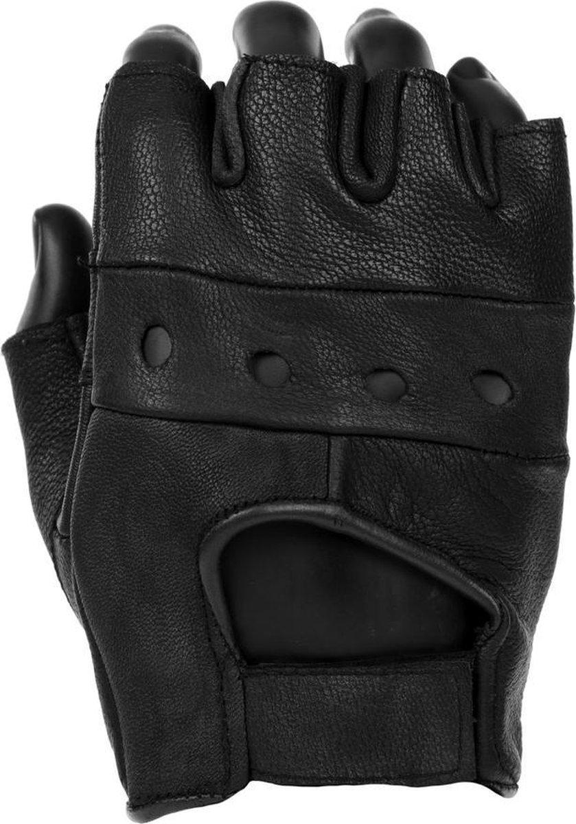 Lederen handschoen zonder vingers zwart polsmof L