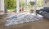 Binnen & buiten vloerkleed Basey - blauw/crème 120x170 cm