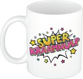 Super kraamhulp cadeau koffiemok / theebeker wit met sterren - 300 ml - keramiek - cadeau / bedankje kraamhulp