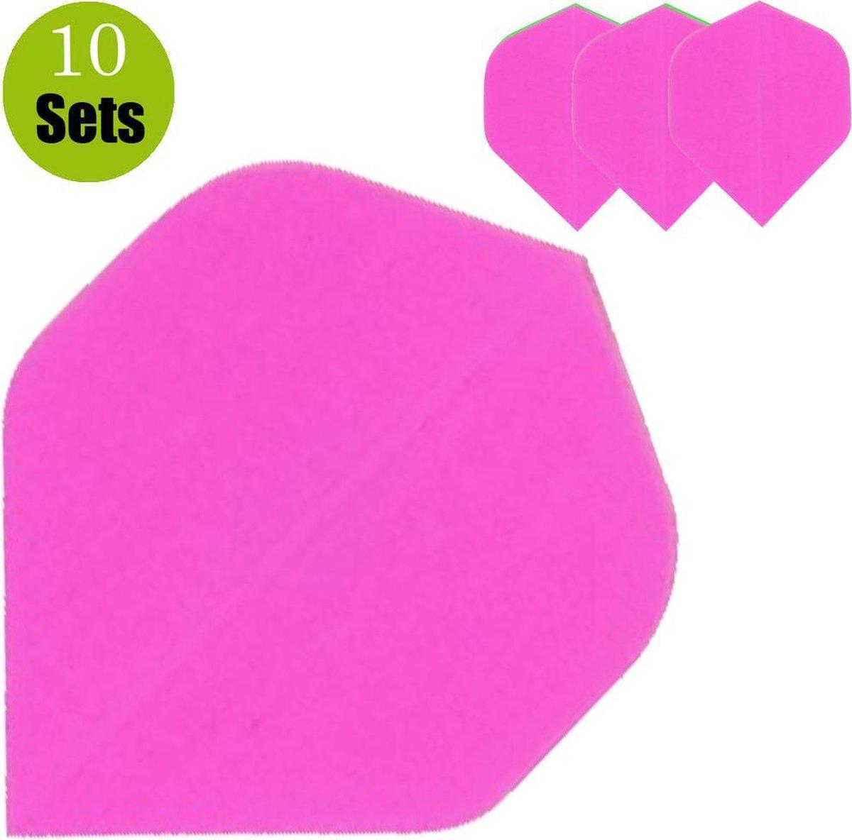 Poly Plain Dartflights - Fluor Roze- (10 Sets)