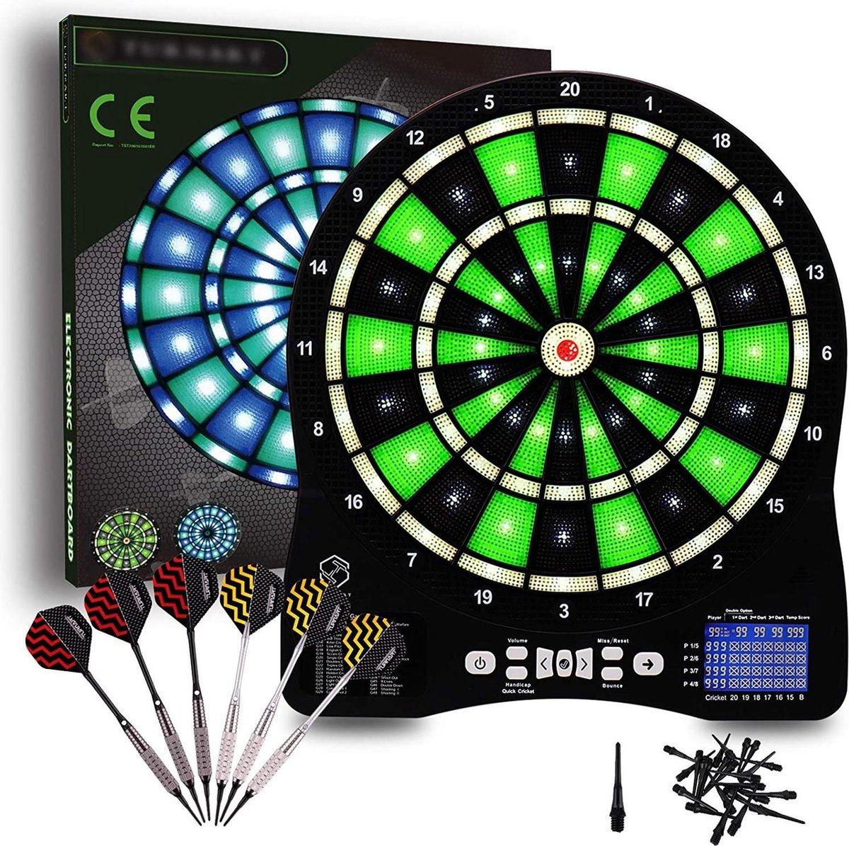 Dart Verlichting - Zinaps Elektronische Dartboard met LED-verlichte nummers Professionele 6 darts Zachte elektronische dartboard- (WK 02127)