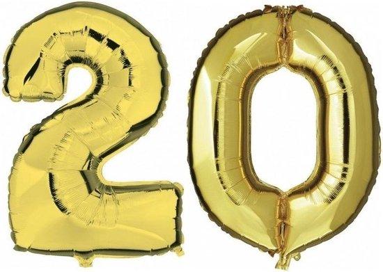 20 jaar gouden folie ballonnen 88 cm leeftijd/cijfer - Leeftijdsartikelen 20e verjaardag versiering - Heliumballonnen