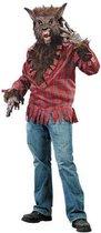 Weerwolf kostuum boze wolf pak rood handschoenen masker - wolvenpak halloween roodkapje