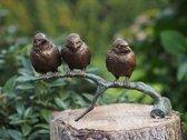 Tuinbeeld - bronzen beeld - Mussen op tak - Bronzartes - 12 cm hoog