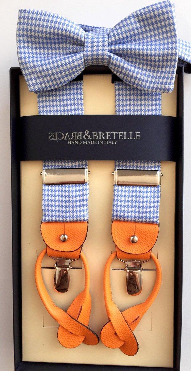 Blauw, witte bretels inclusief vlinderdas - Braces&Bretelle