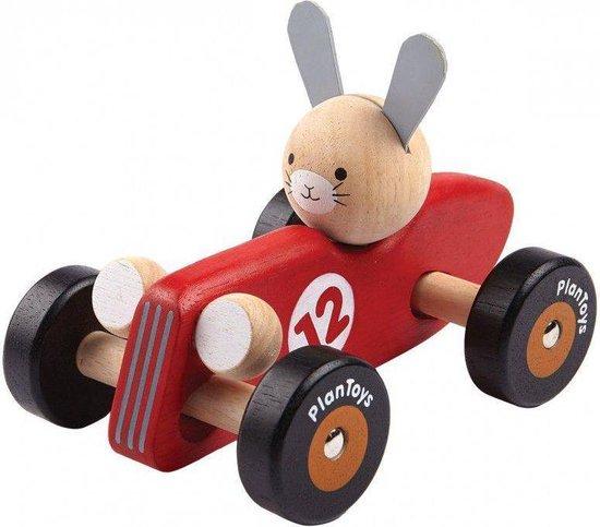 Afbeelding van PlanToys - Racewagen - Konijn - Rood speelgoed