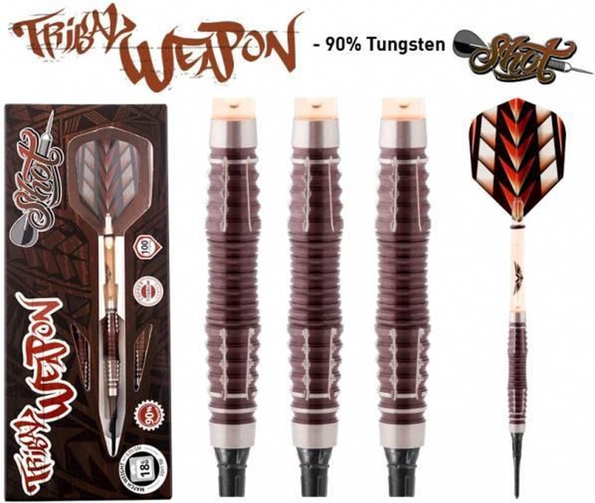 Shot! Tribal Weapon 3 Centre Weight 90% Soft Tip - 18 Gram