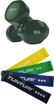 Tunturi - Fitness Set - Vinyl Dumbbell 2 x 2 kg - Weerstandsbanden 4 stuks