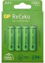 GP ReCyko+ Oplaadbare AA-batterijen - 1300 mAh - 4 stuks