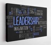 Leadership word cloud business concept in black background  - Modern Art Canvas - Horizontal - 274856210 - 80*60 Horizontal