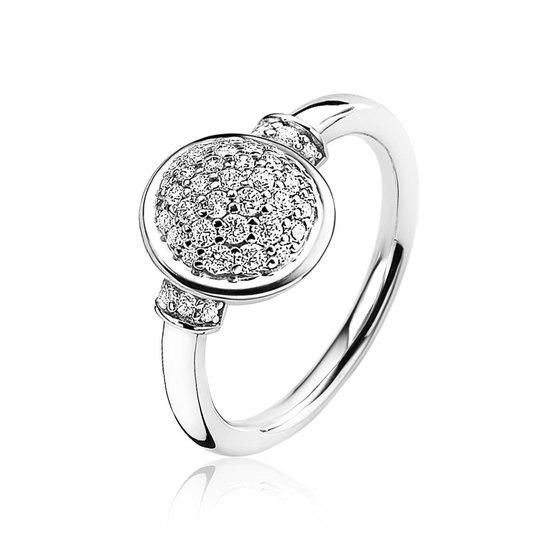 ZINZI zilveren ring ovaal wit 11,7mm ZIR1674