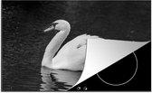 Luxe inductie beschermer Zwaan in zwart wit - 80x52 cm - Witte zwaan met haar kuikens - afdekplaat voor kookplaat - 3mm dik inductie bescherming