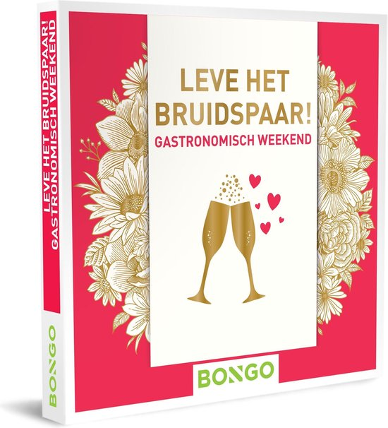 Bongo Bon Nederland - Leve het bruidspaar! - Gastronomisch weekend Cadeaubon - Cadeaukaart cadeau voor koppels   40 hotels met restaurant en wellnessfaciliteiten