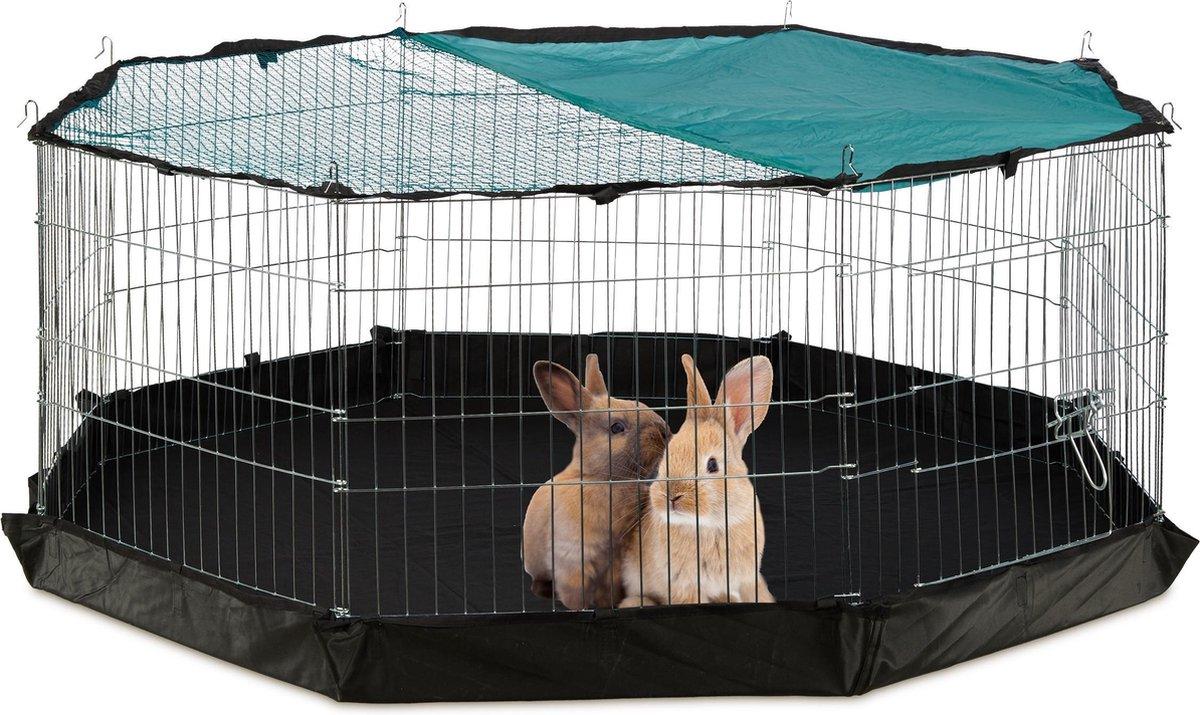 relaxdays konijnenren - met bodem - cavia ren - buitenren - puppy ren - afdeknet - binnen