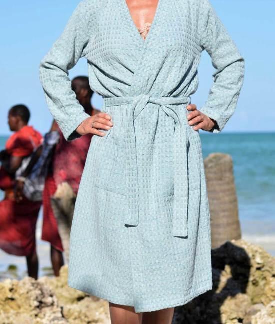 ZusenZomer Hamam Badjas voor dames en heren - wafel katoenen badjas -  kamerjas ochtendjas  - blauw - LXL - ZusenZomer