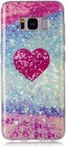 Let op type!! Voor Galaxy S8 + gekleurde tekening patroon IMD vakmanschap zachte TPU beschermhoes (rood hart)