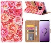 FONU Bookcase Hoesje Roze Rozen Samsung Galaxy S9