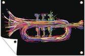 Kleurrijke illustratie van een trompet tuinposter 180x120 cm - Tuindoek / Buitencanvas / Schilderijen voor buiten (tuin decoratie) XXL / Groot formaat!