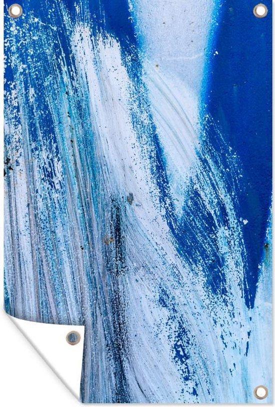 Een schilderij van een blauwe uitbarsting tuinposter 120x180 cm - Tuindoek / Buitencanvas / Schilderijen voor buiten (tuin decoratie) XXL / Groot formaat!