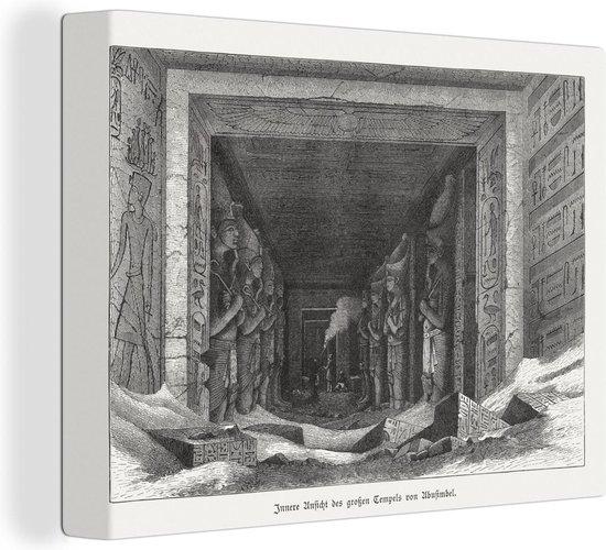 Een illustratie van het interieur van de tempel van Aboe Simbel canvas 80x60 cm - Foto print op Canvas schilderij (Wanddecoratie woonkamer / slaapkamer)