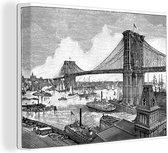 Een antieke illustratie van de Brooklyn Bridge canvas 160x120 cm - Foto print op Canvas schilderij (Wanddecoratie woonkamer / slaapkamer) XXL / Groot formaat!